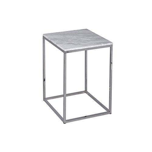 Gillmore Space Marbre Blanc Table Basse carré d'Argent métal Contemporain