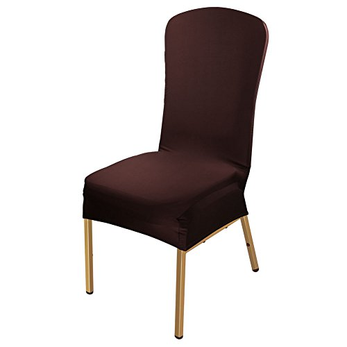 ISWEES Stuhl Husse 6 Stück, Universell Stuhlhussen Stretch Stuhl Husse Stuhlbezug Stuhlüberzu,Gedruckt Baumwolle (Dunkelbraun)