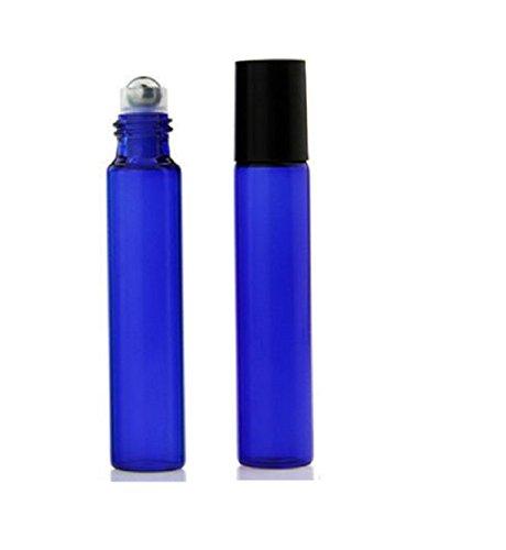 CMJ – Lot de 2 flacons roll-on en verre pour huiles essentielles de 10 ml, bille en métal, bleu/vert/rouge, vendeur britannique, bleu, 2