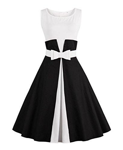 Weiforcarry Frauen Retro Evening Dress Slim Shirt Kleider Langarm Kleid mit Gürtel (M, Schwarz)