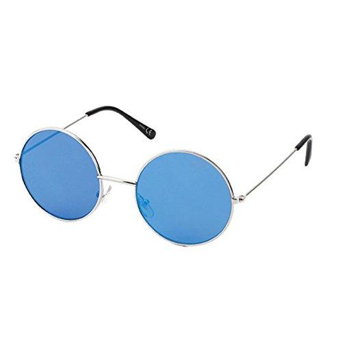 Sonnenbrille Round John-Lennon-Style 400 UV Metall silbern verspiegelt Steg lang blau