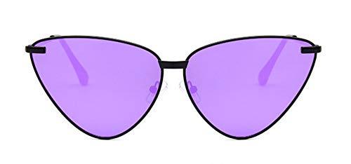 WSKPE Sonnenbrille Sexy Lady Cat Eye Sonnenbrille Frauen Metallrahmen Klaren Gläsern Sonnenbrille Uv400 Schwarzen Rahmen Lila Objektiv