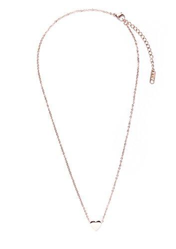 Happiness Boutique Damen Kette mit Herz Anhänger in Rosegold | Filigrane Kette Minimalist Design Titanschmuck