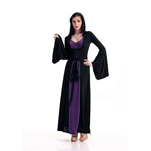 Fashion-Cos1 Frauen Hexe Kostüm Weihnachten Karneval Halloween Maskerade Kostüm Weibliche Cosplay Retro Gericht Outfit Königin Kleidung (Color : Black)