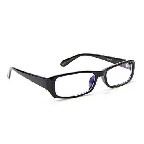 Cyxus filter blaues licht brillen rechteckiger rahmen, besser schlafblock uv gläser, anti kopfschmerzen handy computer lesung brille (transparente linse),schwarz (Blauer Rahmen-brillen)