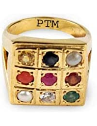 Certified Natural Navaratna (9 Stones) Panchdhatu Gold Plated Ring With Certificate For Gents & Ladies-A5