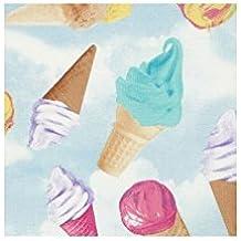 Tela azul claro con helados de colores y nubes de Timeless Treasures