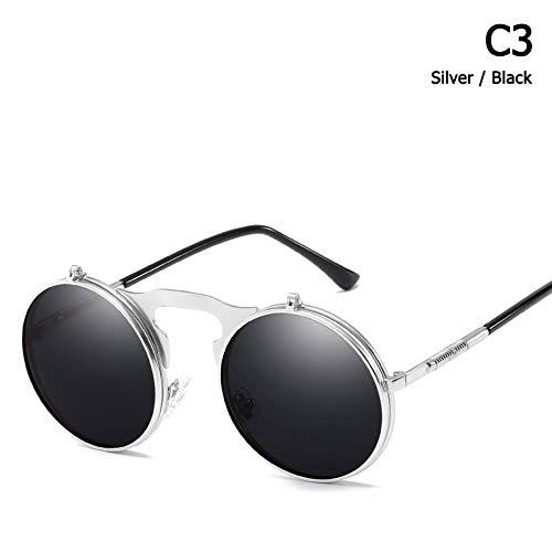 ZHOUYF Sonnenbrille Fahrerbrille Mode Polarisierte Steampunk Style Clamshell Flip Up Sonnenbrille Vintage Runde Marke Design Sonnenbrille Oculos De Sol, C.