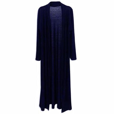 Ladies Boyfriend Long Sleeve Length Maxi Cardigans Women Open Top Plus Size 8-18 (L, Navy)