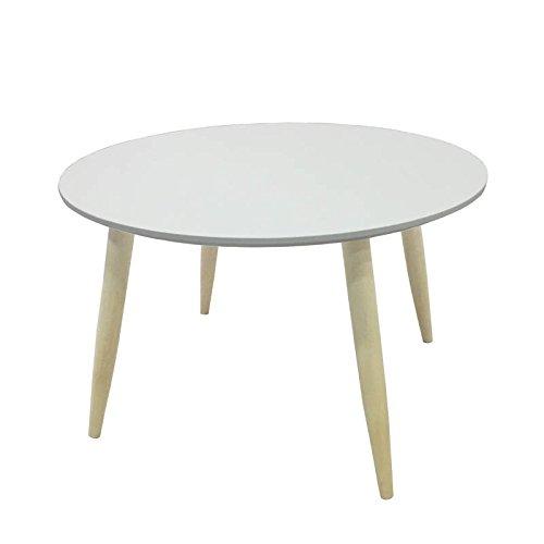 Mesa auxiliar o de centro para comedor o salon con tabla superior redonda en color blanco mate y patas en color haya 58x58cm
