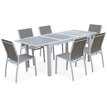 Salon de Jardin Table Extensible - Orlando Taupe - Table en Aluminium  150/210cm, Plateau de Verre, rallonge et 6 chaises en textilène