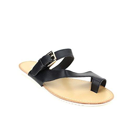 Cendriyon, Tong Noir Simili cuir SULINA Chaussures Femme Noir