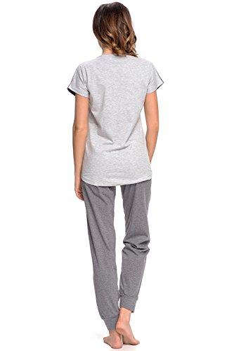 Dn-Nightwear PM.9002 Joli Confortable Pyjama Manches Courtes – Fabriqué En UE Gris