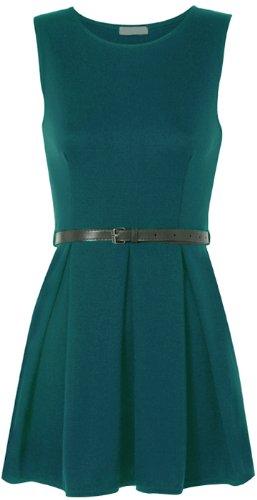WearAll - Damen Gürtel Minikleid kurz ärmellos - 15 Farben - Größe 36-42 Teal