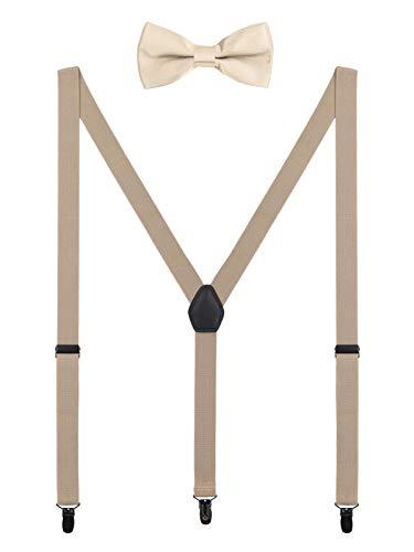Damen Herren Hosenträger Fliege Set - 3 Schwarz Clips Y Form 2,5cm Hochelastisch Hosenträger für Herren 150-200cm - Beige