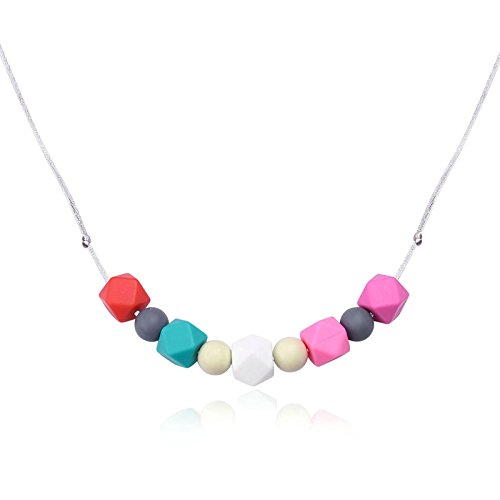 Lila Modeschmuck Billig (Epinki Zahnpflege Baby Kette Lebensmittelechtes Silikon Zahnen Anhänger Halskette Geometrie Rot Chewelry Mama Kette)