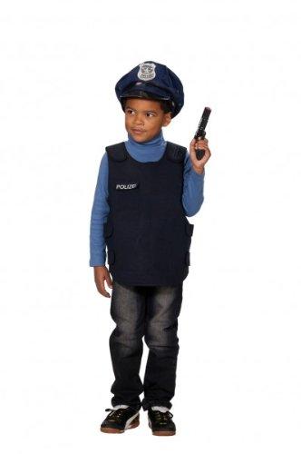 Polizeiweste Polizist Polizei Weste Kinder Kostüm Kinderweste Schwarz Uniform Polizeikostüm Polizeiuniform Sondereinsatz Komando 'kugelsicher' Einsatzweste Gr. 116, 140, Größe:140 (Kugelsichere Weste Kostüm)