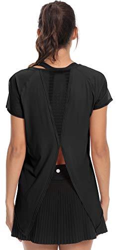 Back Cowl Top (QUEENIEKE Damen Glattes Schritt Cowl Back Yoga gebunden T-Shirt Laufsport Shirts Top Farbe Schwarze Mesh-Hülle Größe S(4/6))