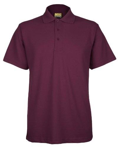 Mens Active Pique Polo T Shirts Sizes XS to 4XL In 8 Colours By MIG - WORK CASUAL SPORTS LEISURE (L - LARGE, MAROON)