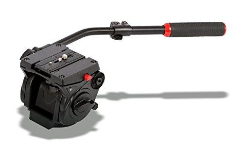 Photecs Fluid Videokopf T2 mit flacher Basis, hochfeste Alu-Legierung, Belastbarkeit ca. 6 kg, Schnellwechselplatte kompatibel zu M. 501PL