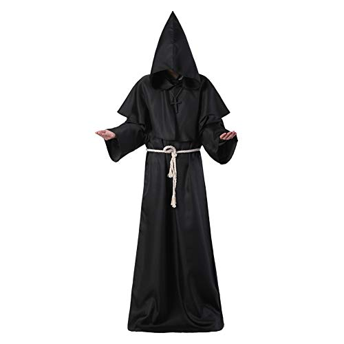 JK Mönch-Kostüm Mittelalter Friar Robe mit Kapuze Mönch Renaissance Priester Umhang Umhang Halloween - Renaissance Mönch Kostüm