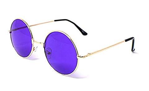 Ultra® Erwachsene Retro Runde Gold gerahmt lila Objektiv Sonnenbrillen voller Spiegel Objektiv John Lennon Stil Vintage look Qualität UV400 Sonnenbrillen für Männer Frauen in Silber Gold grün-schwarz und violett (Gold Grün Sonnenbrille)