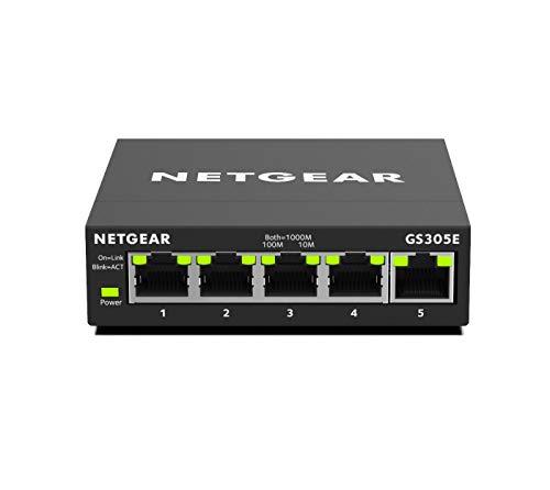 NETGEAR GS305E 5-Port Gigabit Ethernet LAN Switch Smart Managed Plus (robustes und lüfterloses Metallgehäuse, Plug-and-Play, QoS- und VLAN-Verwaltung, für Desktop)
