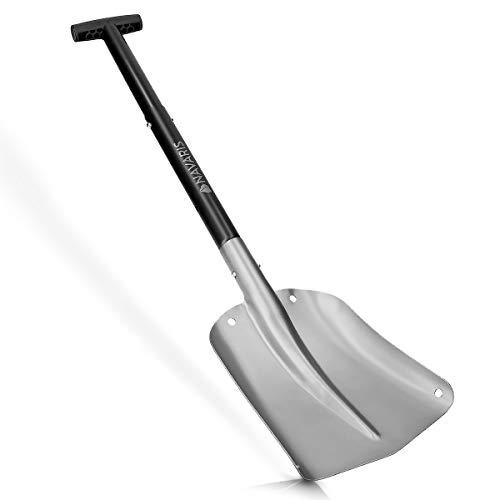 Navaris Pala Plegable para Quitar Nieve - Quitanieves Manual con Mango Ajustable 80CM y Bolsa de Transporte - Pala de Nieve Aluminio Plateado y Negro