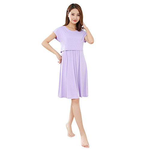 Amphia - Schwangere Frauen tragen einen Kurzarm-Stillanzug - Womens Mother Pregnants Casual Still-Baby für Mutterschaft Feste Kleid(Lila,XL)
