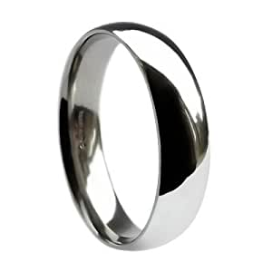 QUALITY UK Platinum 8mm Heavy Band Traditional Court / Comfort Wedding Ring 18.5g Size Q