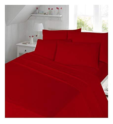 flanellbettlaken Maria Luxury Bedding & Linen Bettlaken aus 100% gebürsteter Baumwolle, Weiches Bettlaken mit Passenden Kissenbezügen, Rot
