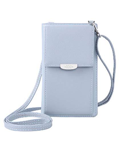 DNFC Damen Umhängetasche Kleine Handtasche Geldbörse Handy Tasche Portemonnaie Lang Geldbeutel PU Leder Geldtasche für Mädchen und Frauen (Hellblau) - Tasche Geldbörse Handtasche