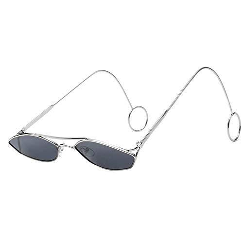 FIRM-CASE Mode Oval Sonnenbrillen Männer Frauen Metallring Double Beam Kleiner Rahmen Sonnenbrillen New Brillen, 3