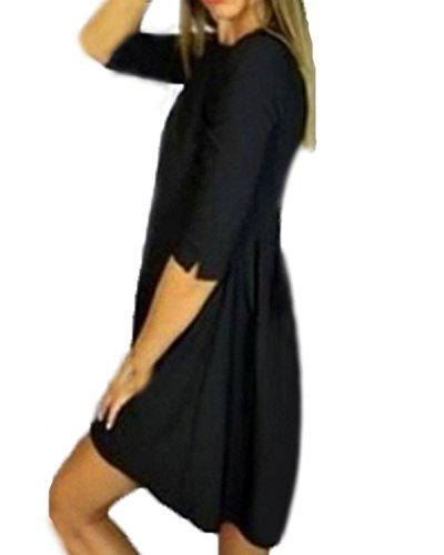 ZANZEA Femme Slim Parti Cocktail Asymmetrical Manches Longues Tunique Mini Robe de Soirée Noir