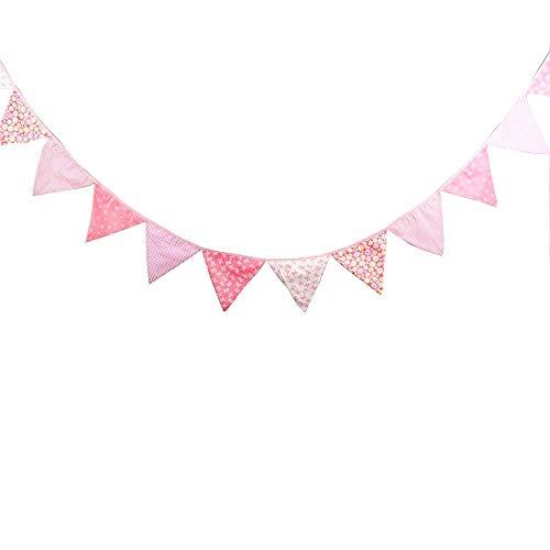 JZK Rosa Bunting Dreieck Flagge Banner Wimpelkette Girlande, Deko für Mädchen Geburtstag Babyparty...