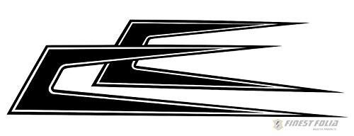 Finest Folia Zacken Scallops Ornamente LKW Aufkleber Dekor Sticker Dach für z.B Scania Man Volvo Mercedes DAF (Schwarz Glanz)