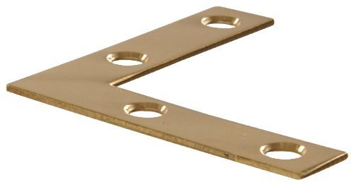 Flat Iron Finish (The Hillman Group 851101 2 Solid Brass Flat Corner Iron - Bright Brass Finish 4-Pack by The Hillman Group)