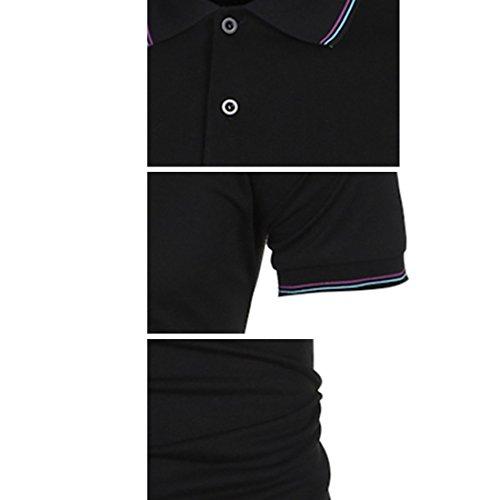 LIANIHK Herren Hemd kurzarm Poloshirt Hemd Basics T-Shirt Polo Shirt Multicolor Simple t Schwarz
