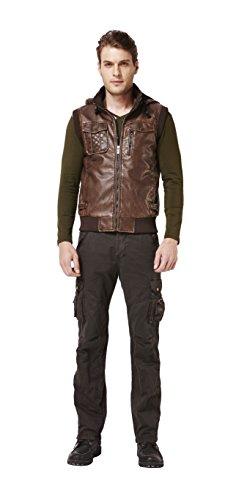Colorfulworldstore Blouson homme en similicuir à capuche sans manches doublé velours Marron