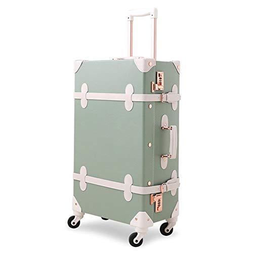 XDD Gepäck 26 Zoll Vintage Koffer Frauen Retro Trunk Rolling Spinner Leichte Handgepäck Koffer für Reisen Urlaubsreise oder den täglichen Gebrauch Hardshell Reisetasche -