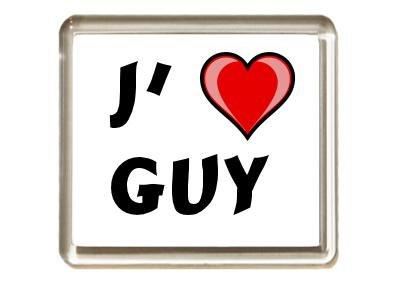 Aimant de frigo avec une inscription: J'aime Guy (Noms/Prénoms)