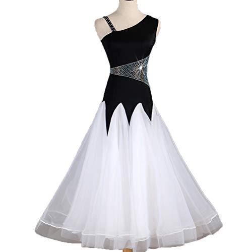 Wangmei Einfach National Standard Tanz Ballsaal Kleider Modernes Performance Kostüm Ärmellos Schräge Kragen Große Rock Swing Gesellschaftstanz Foxtrott Schwarz Weiß Stitching, ()