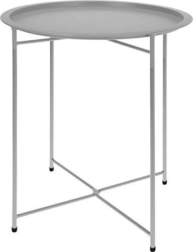 made2trade Beistelltisch, Nachttisch, Kaffetisch fürs Wohn- und Schlafzimmer aus Metall in Light Grey - 52cm -