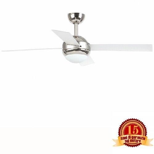 Faro Barcelona Honolulu 33347 - Ventilador con luz, 9W, acero/aluminio+acrylico+cristal opal
