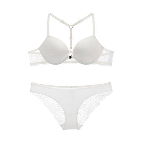 Zhiyuanan Damen Sexy Spitze Dessous-Sets Push Up BH Mit Vorderverschluss Und Lace Höschen Unterwäsche-Sets Weiß 80C (Unterwäsche Lace Höschen)