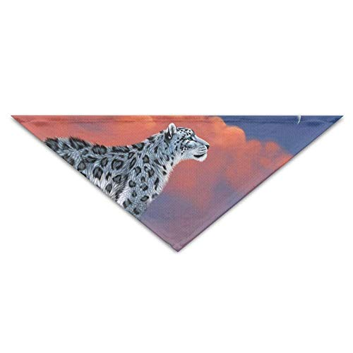 Gxdchfj Pet Scarf, White Lonely Leopard On A Rock Top Triangle Pet Scarf Dog Bandana Pet Collars for Dog Cat - Birthday -
