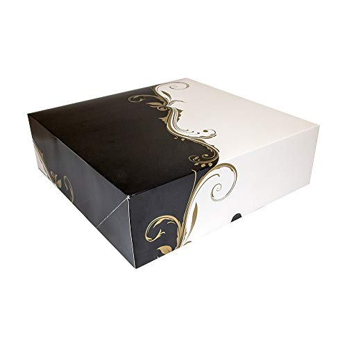 Caja pasteleria sin ventana cuadrada, fabricada en carton apto para el uso alimentario
