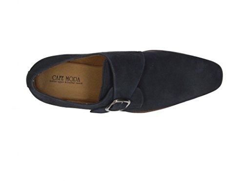 Cafe Moda Herren Business Schuh aus Leder mit einer Schnalle Navy