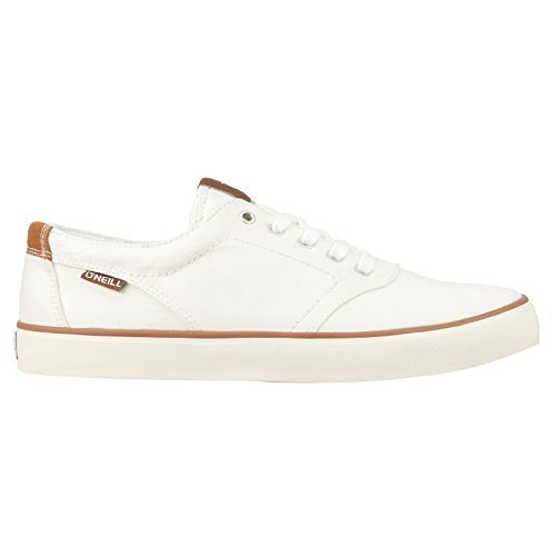 O'Neill Mens Psycho LCVS Lace Up Twill Canvas Sneaker Shoe White Black