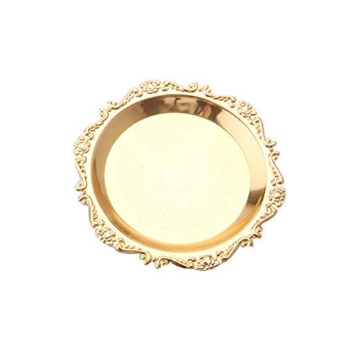 BESTONZON Eisen Servierplatte Dessertteller Runde Kuchenteller Dekoteller zum Servieren von Dessert Obst Schmuck (Golden) Elegante Dessert